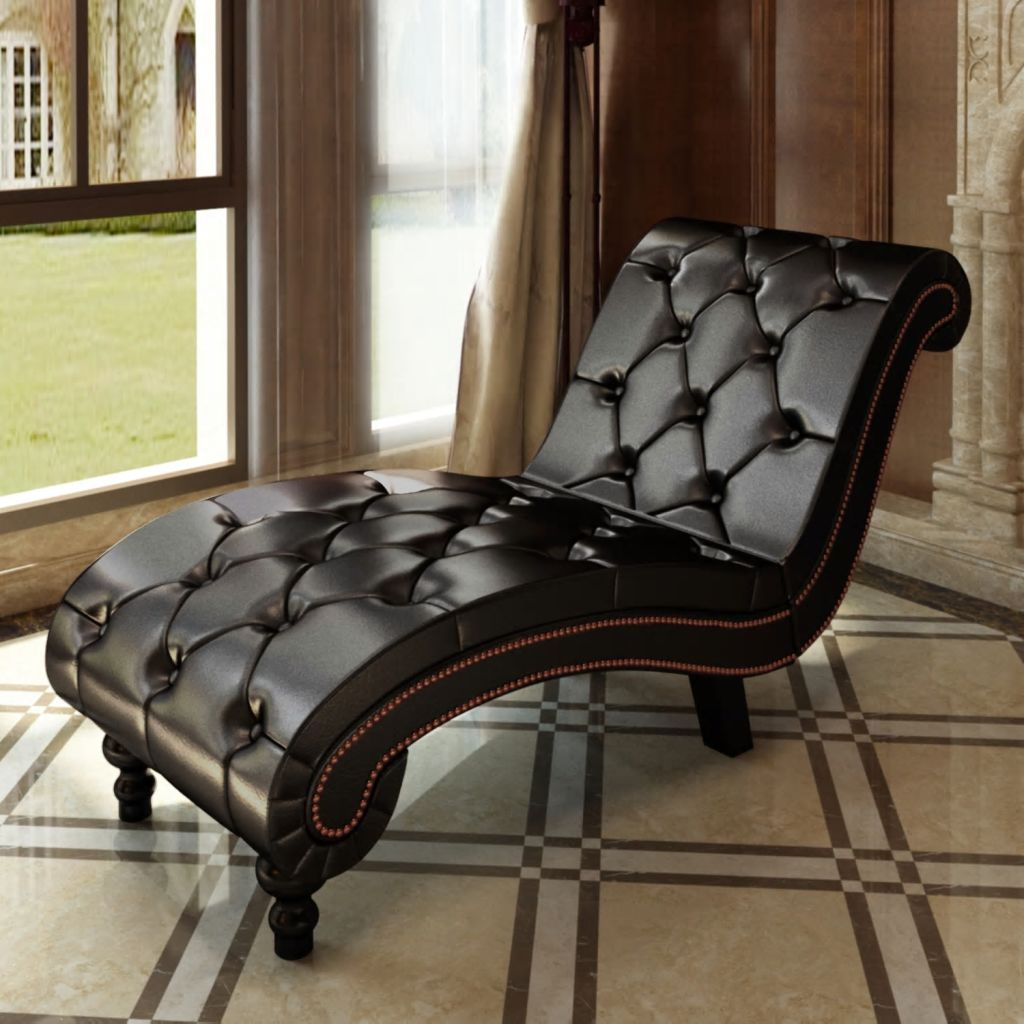 vidaXL Relaxačné ležadlo z umelej kože s gombíkmi, hnedé