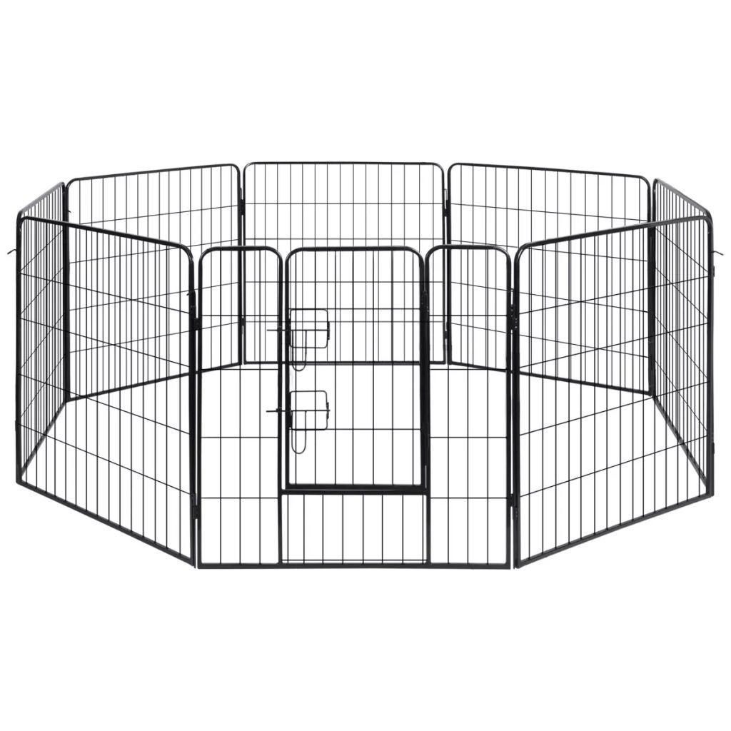 vidaXL Oceľová ohrádka pre psy s 8 panelmi