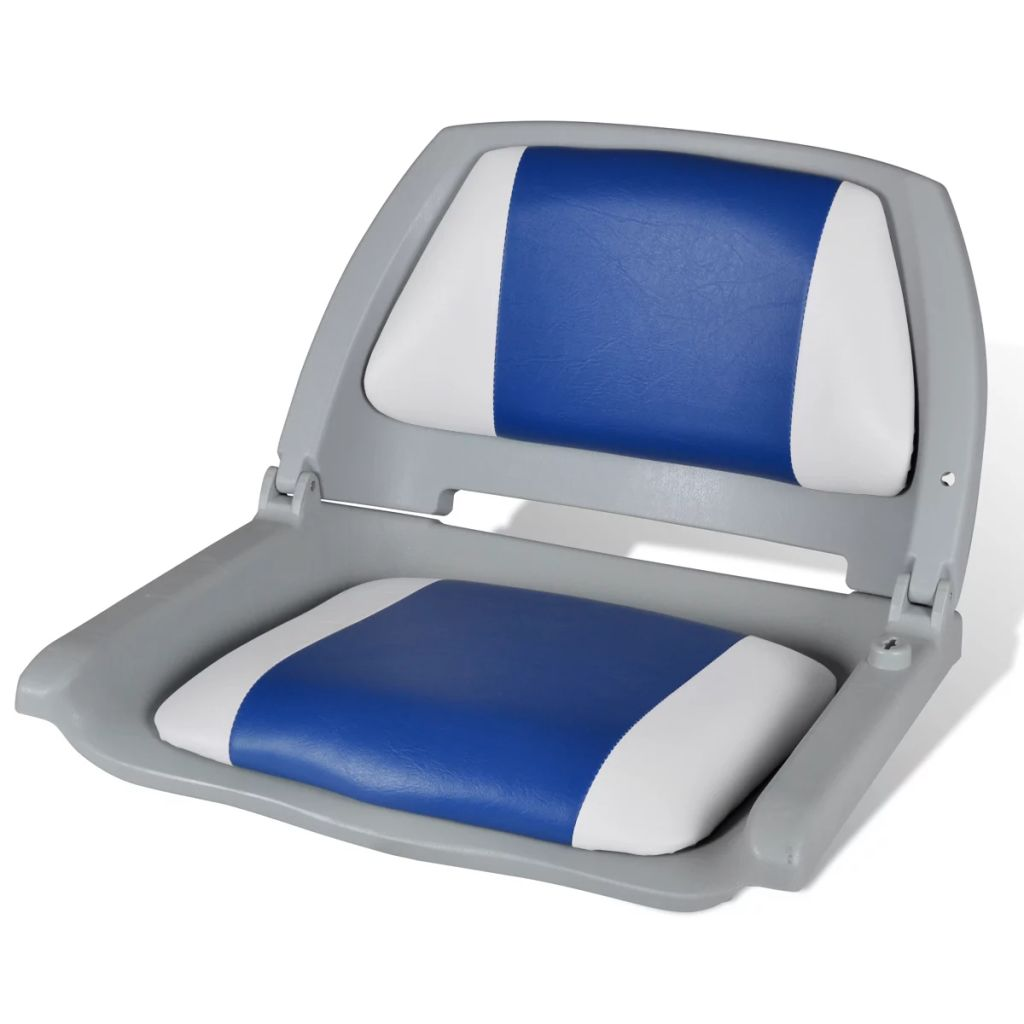 Sklápacie sedadlo do člna s modro bielou podložkou 41 x 51 x 48 cm