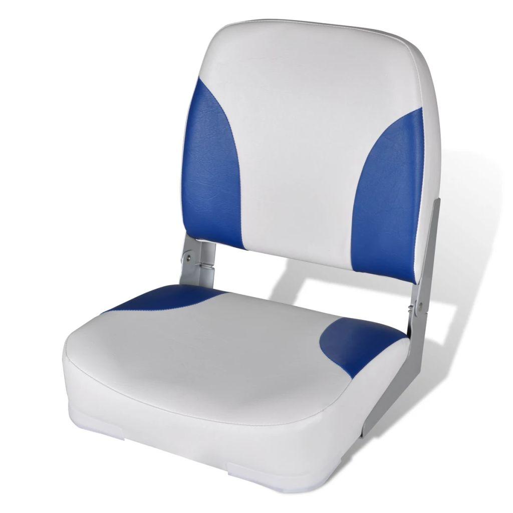 Modro-biele sedadlo na čln so sklopným operadlom a vankúšom 41x36x48cm
