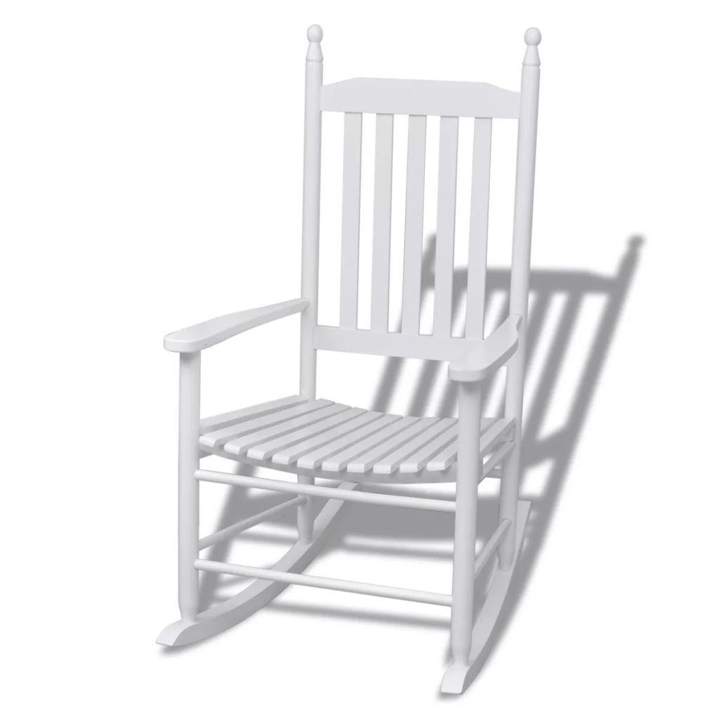 vidaXL Drevené hojdacie kreslo so zakriveným sedadlom, biele