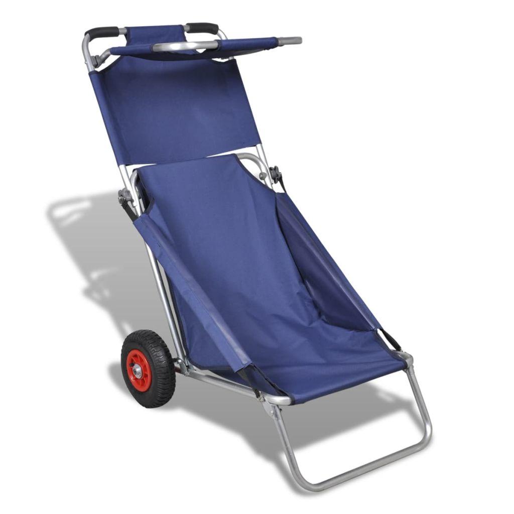 vidaXL Plážový vozík s kolieskami, prenosný, skladací, modrý
