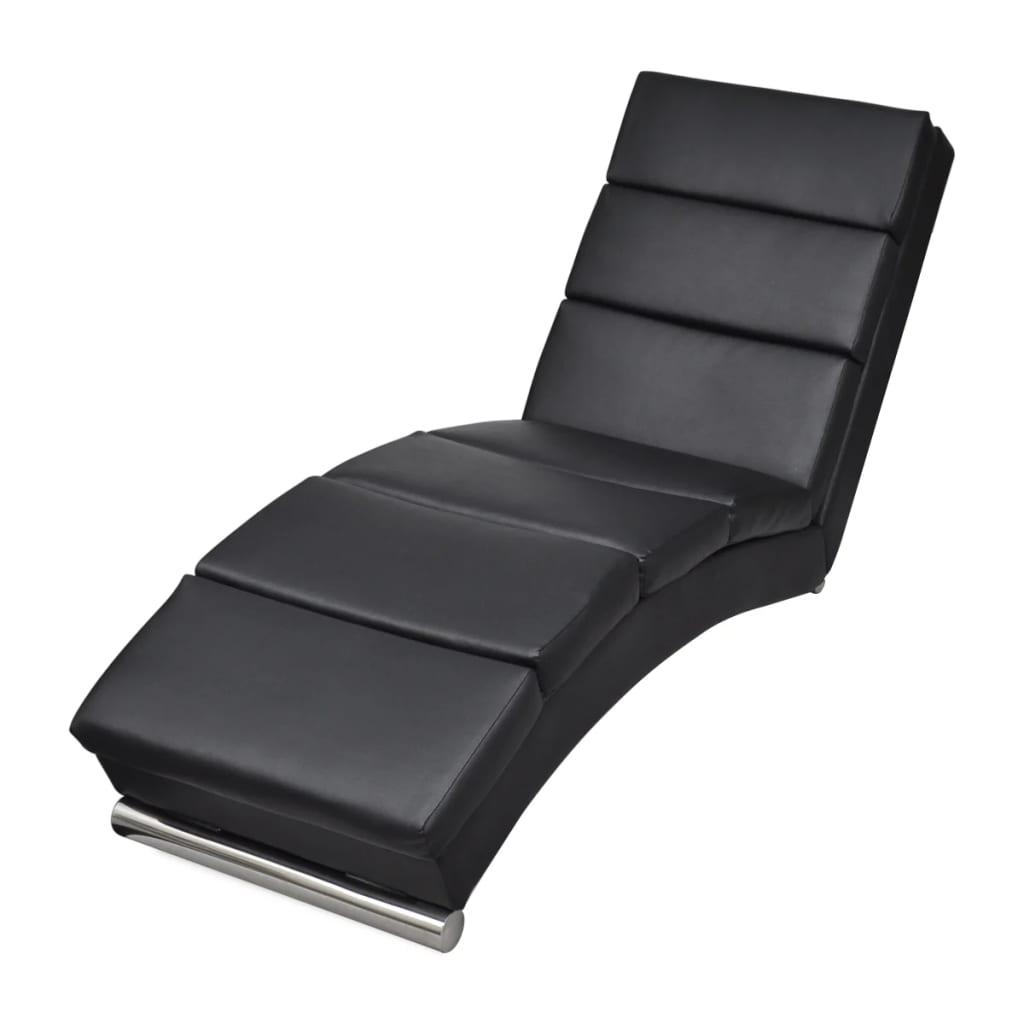 vidaXL Relaxačné ležadlo z umelej kože, čierne