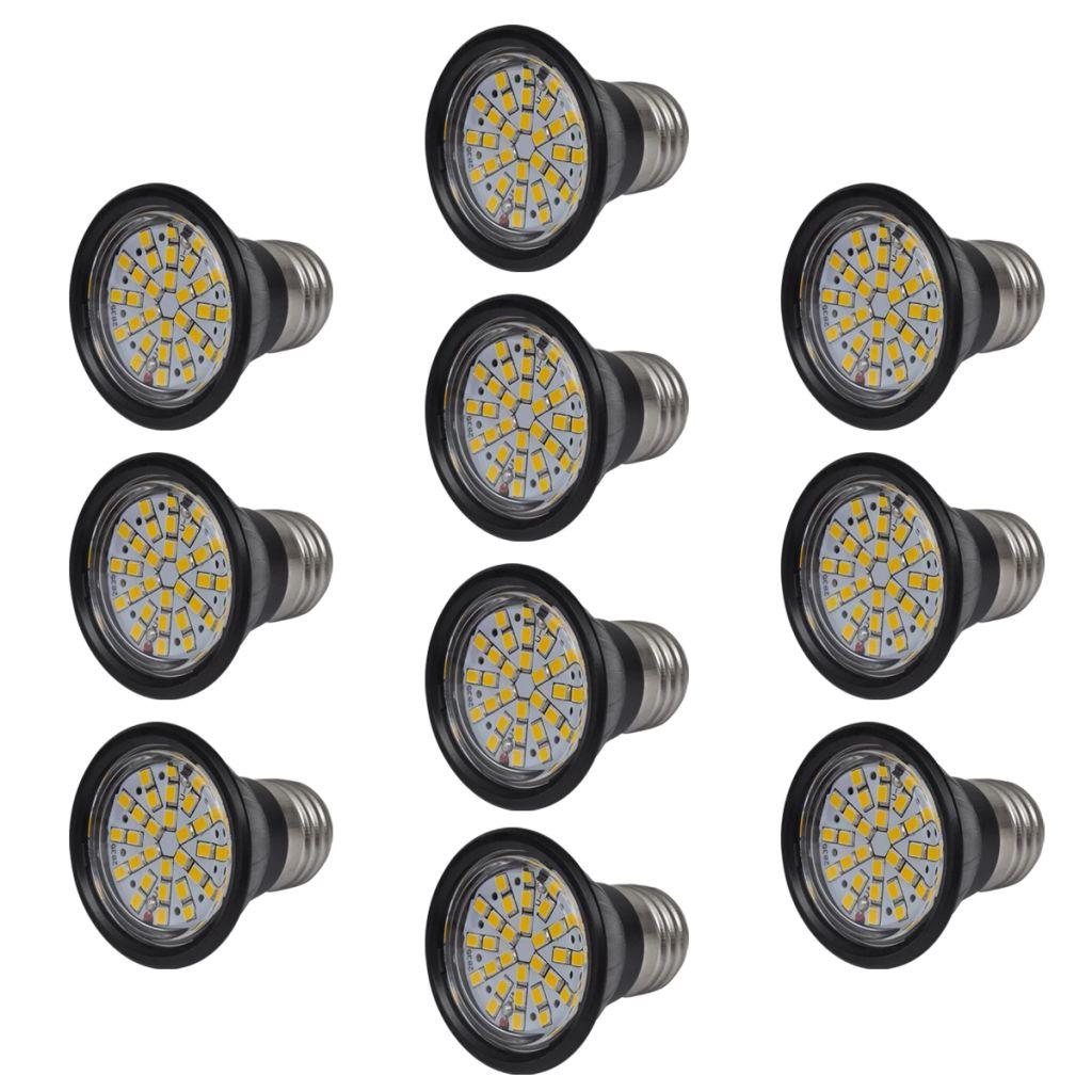 Sada 10 LED žiaroviek, čierne, 3W, E27, teplé biele svetlo