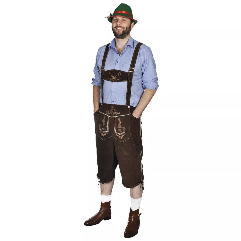 Pánsky kostým na Oktoberfest - lederhosen s klobúkom, veľkosť XL