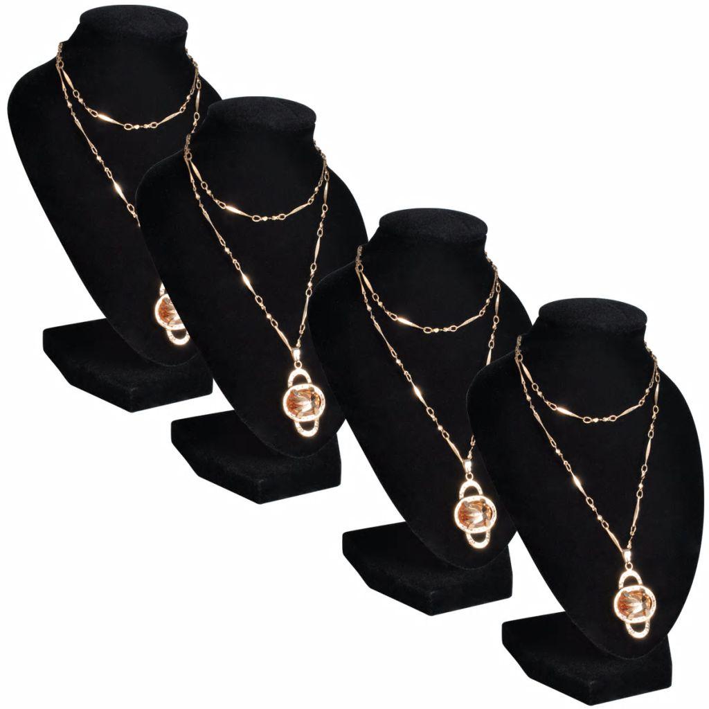 Flanelový stojan na náhrdelníky a retiazky, čierny, 9x8,5x15 cm, 4 ks