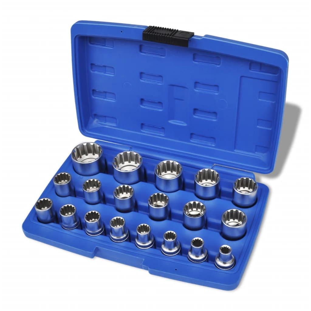 Drážkované nástrčné kľúče v úložnom puzdre, 19 ks