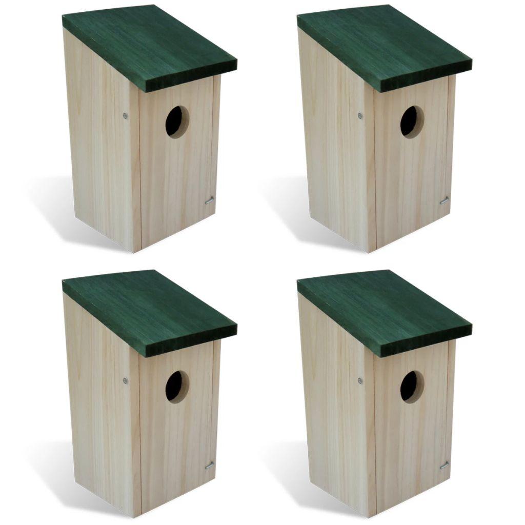 Drevený vtáčí dom 4ks