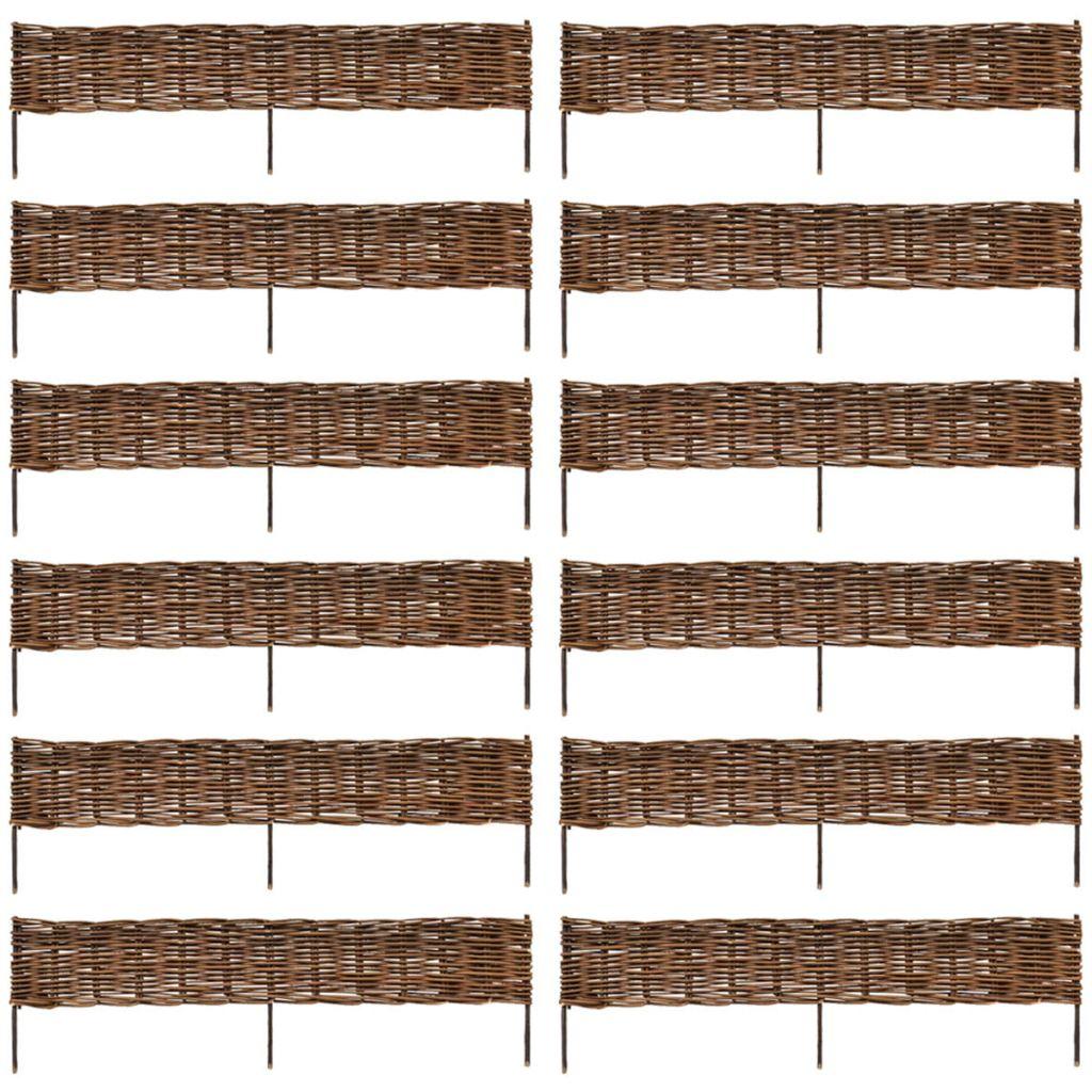 vidaXL Obhraňujúci plot zo záhradnej vŕbe 12 ks 120 x 35 cm