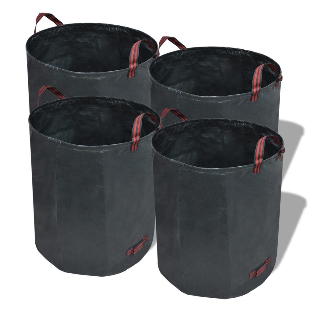 Odpadkový kôš do záhrady, tmavo zelený, 4 ks 120 L 150 g/m2