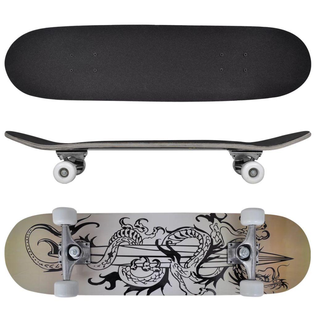 vidaXL Oválny skateboard s dizajnom draka, 9 vrstvový javor, 8