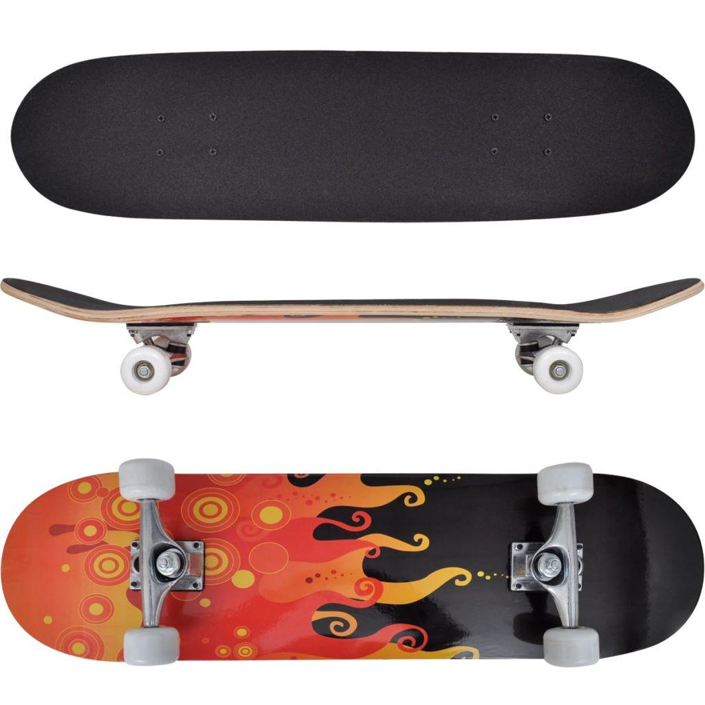 vidaXL Oválny skateboard s dizajnom plameňov, 9 vrstvový javor, 8