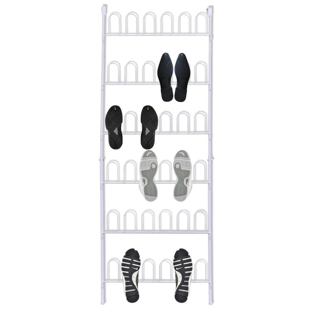 Biely oceľový botník pre 18 párov topánok