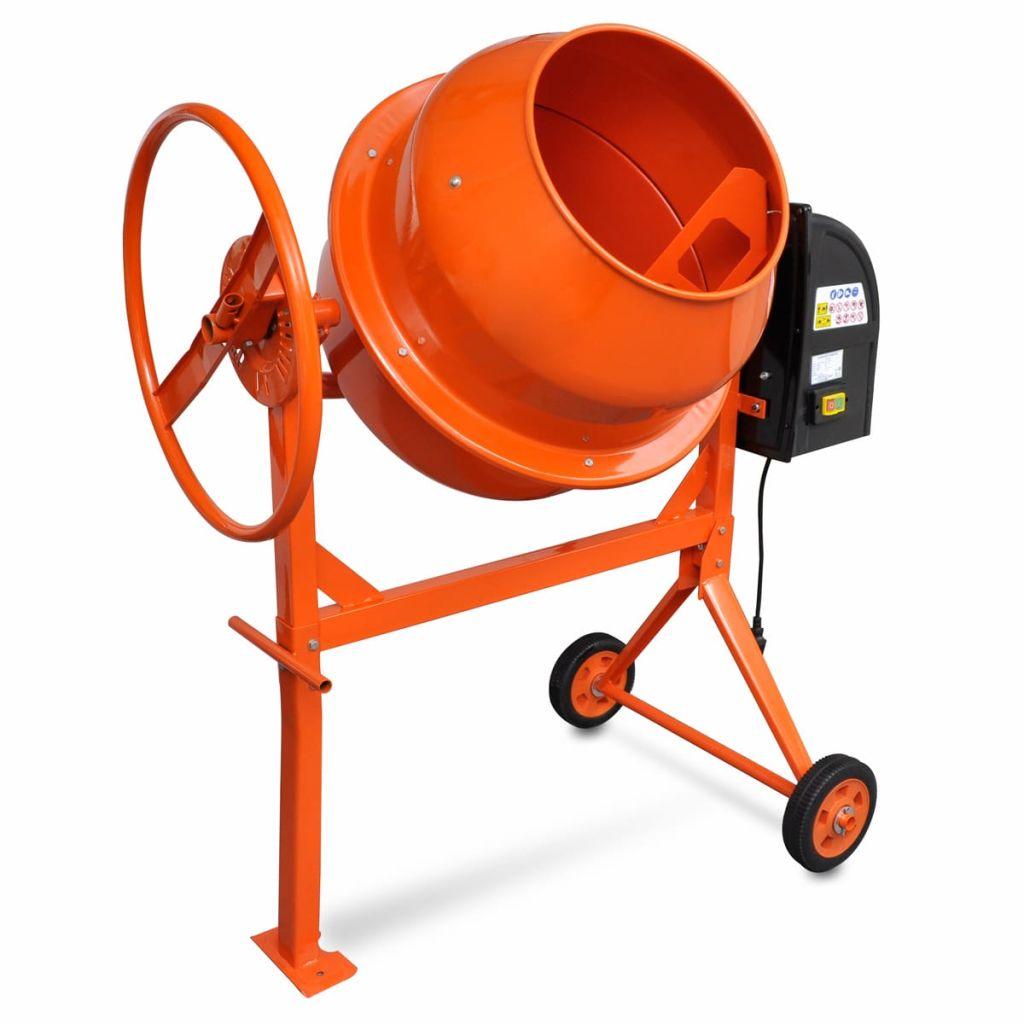 Oranžová miešačka betónu z ocele 140L 650W