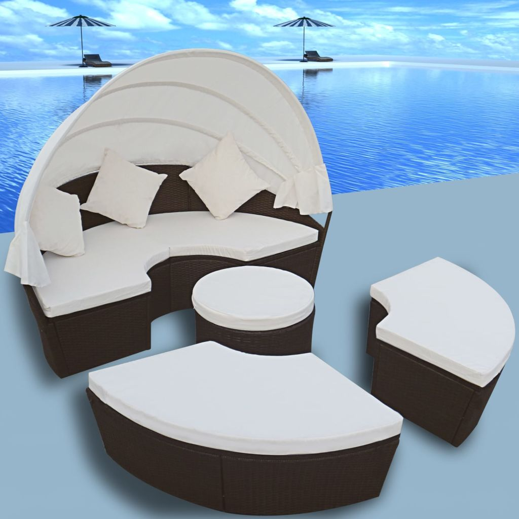 vidaXL 12-dielna sedacia súprava 2-v-1 s baldachýnom, hnedá, polyratanová