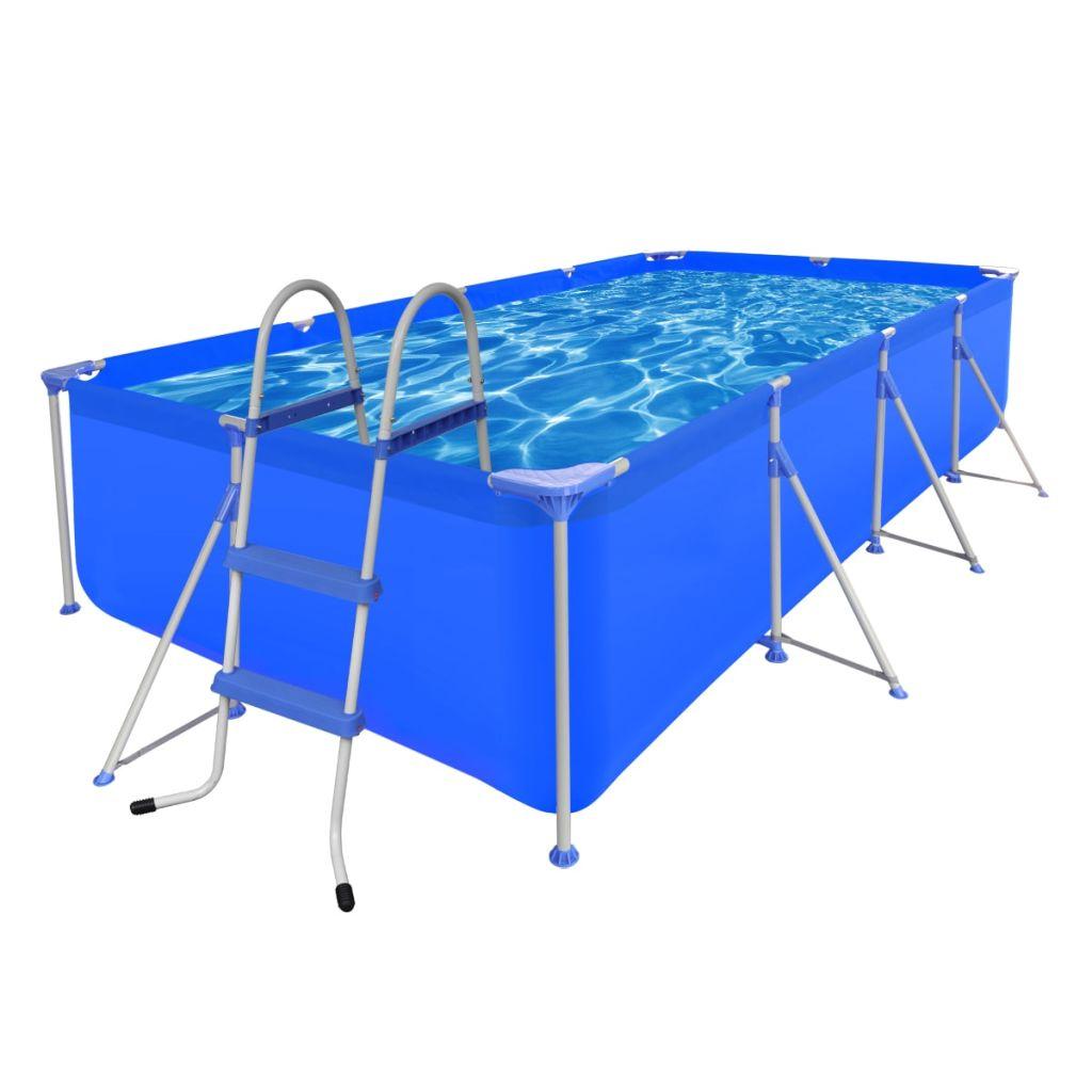 Oceľový bazén s rebríkom, 394 x 207 x 80 cm (90530+90564)