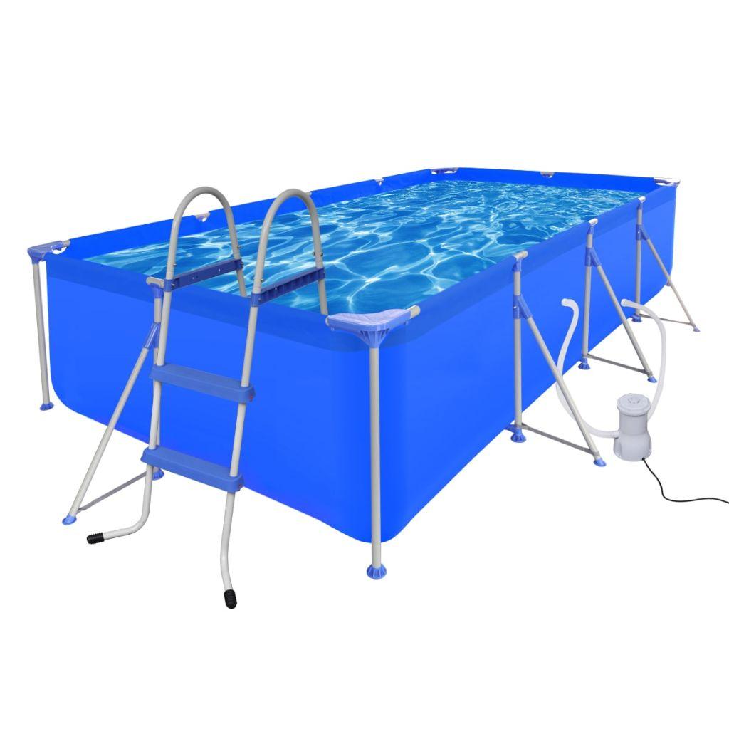 Oceľový bazén s rebríkom & čerpadlom, 394 x 207 x 80 cm  (90530+90564+90561)