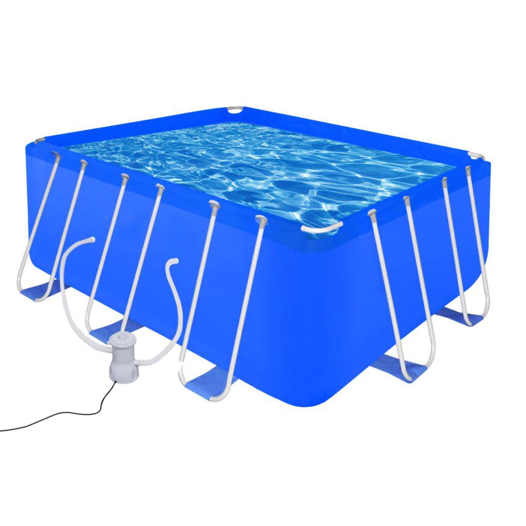 Bazén s čerpadlom, oceľ, 400 x 207 x 122 cm (90531+90561)