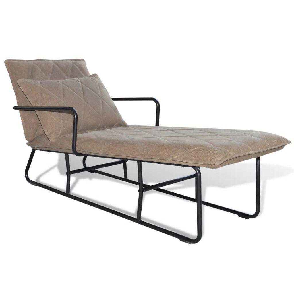 vidaXL Relaxačné ležadlo so železným rámom, bledohnedá látka