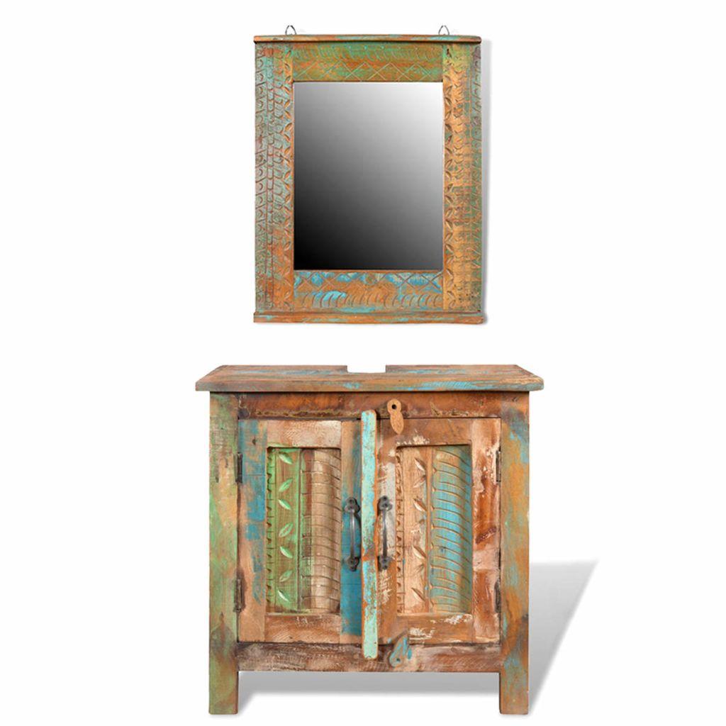 Kúpeľňový nábytok z recyklovaného dreva: skrinka pod umývadlo, zrkadlo