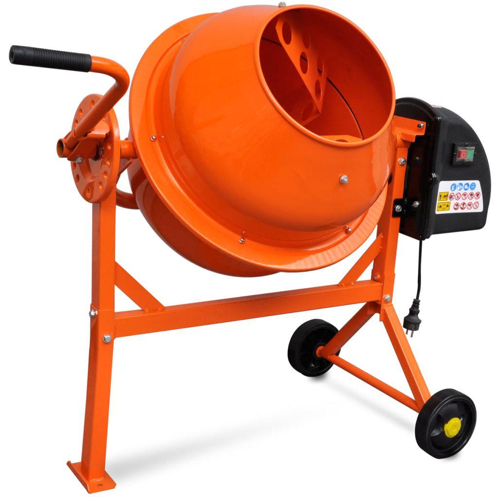 Elektrická oceľová miešačka na betón oranžovej farby 63 L 220 W