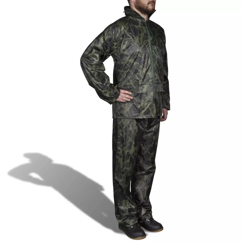 Pánsky dvojdielny maskáčový pršiplášť s kapucňou XXL