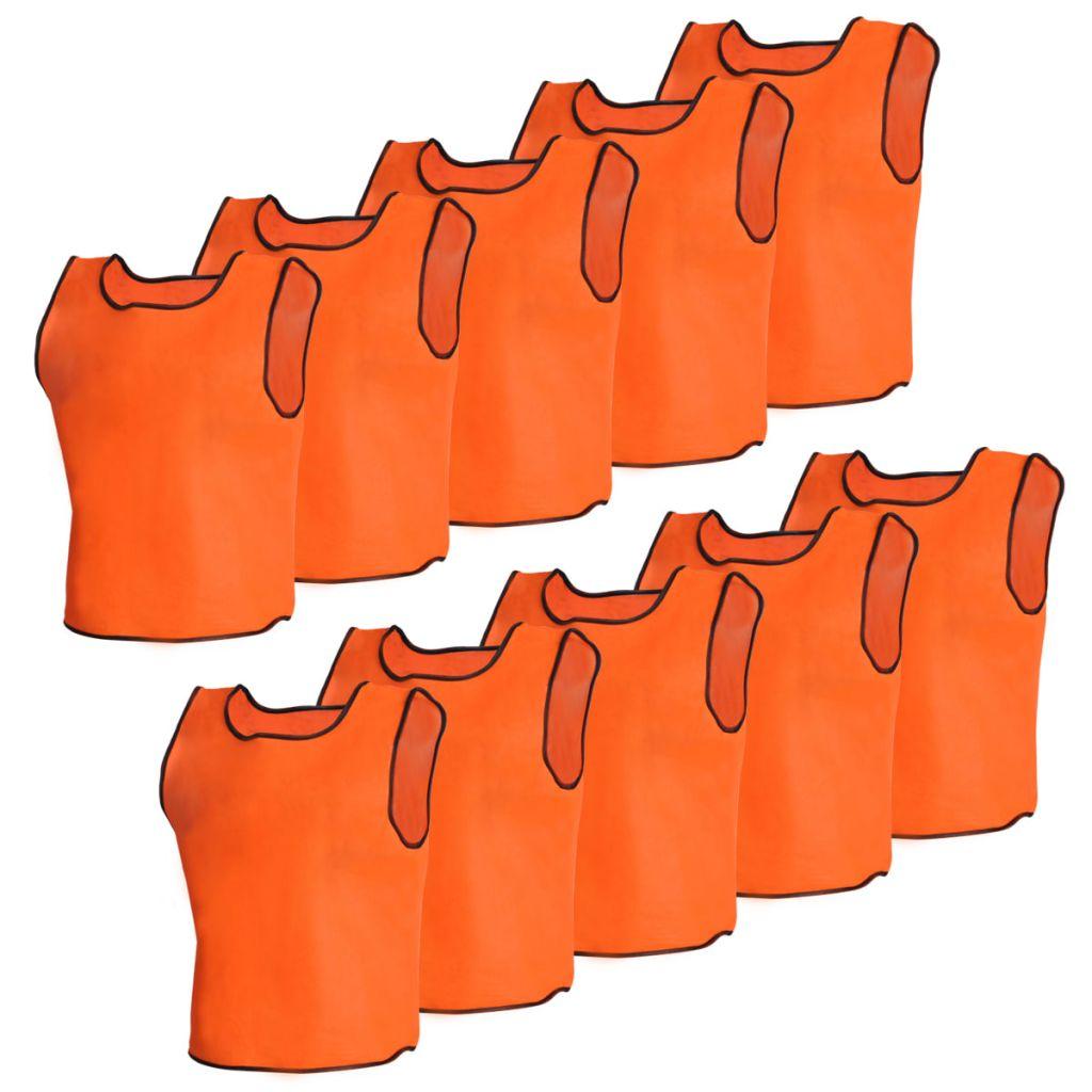Rozlišovacia oranžová športová vesta junior, 10 ks