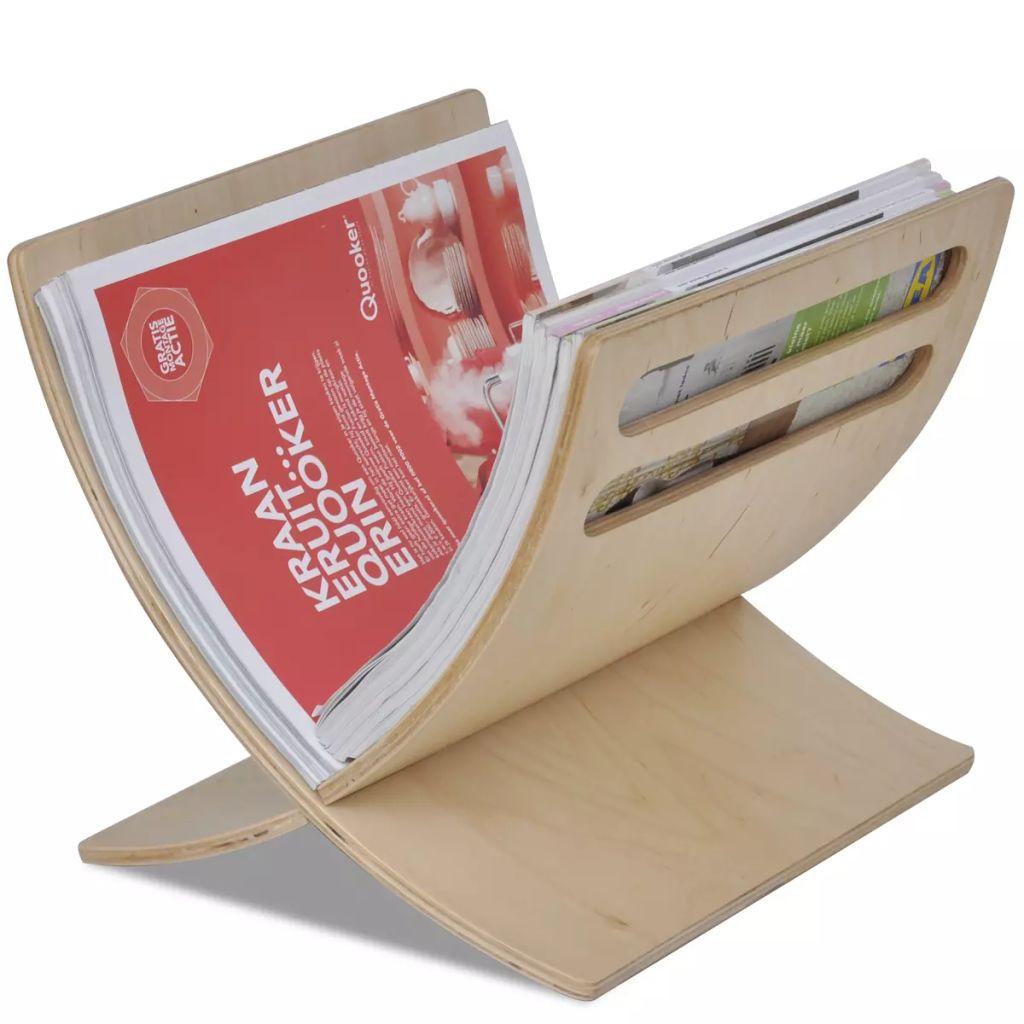 vidaXL Drevený stojan na časopisy, voľne stojaci, prírodná farba