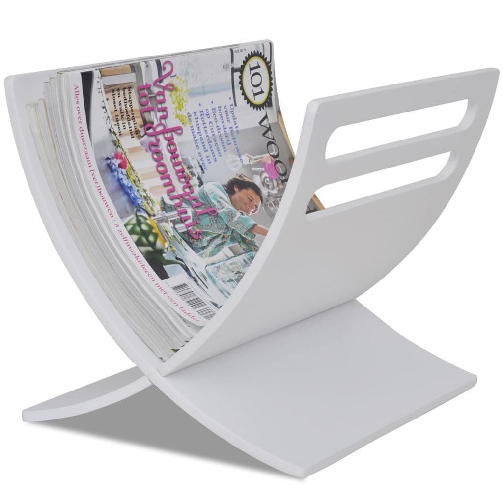 vidaXL Drevený stojan na časopisy, voľne stojaci, biely