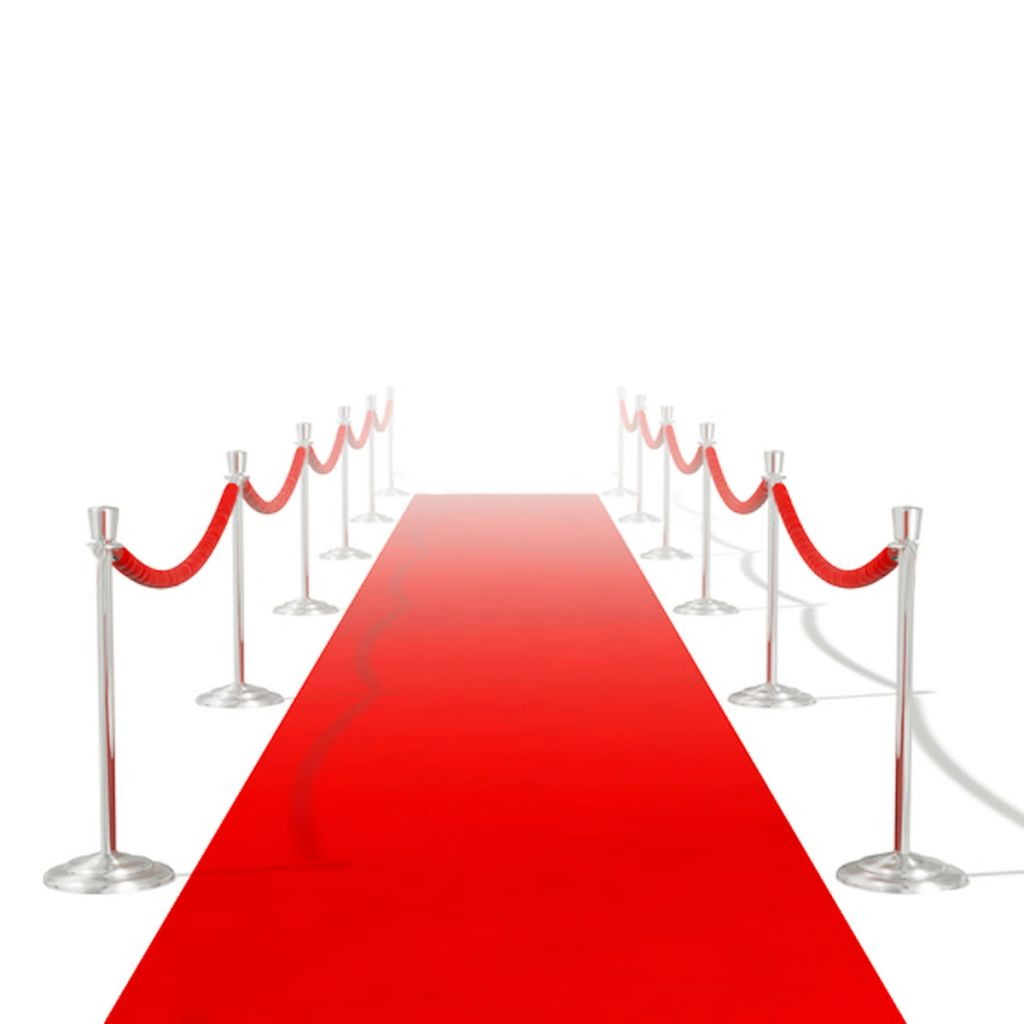 Červený koberec vidaXL - 1 x 5 m, extra ťažký 400 g/m2