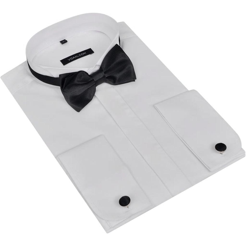 Pánska košeľa s manžetovými gombíkmi a motýlikom, veľkosť XL, biela