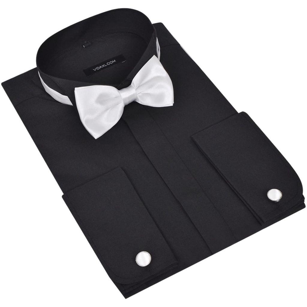 Pánska košeľa s manžetovými gombíkmi a motýlikom, veľkosť S, čierna