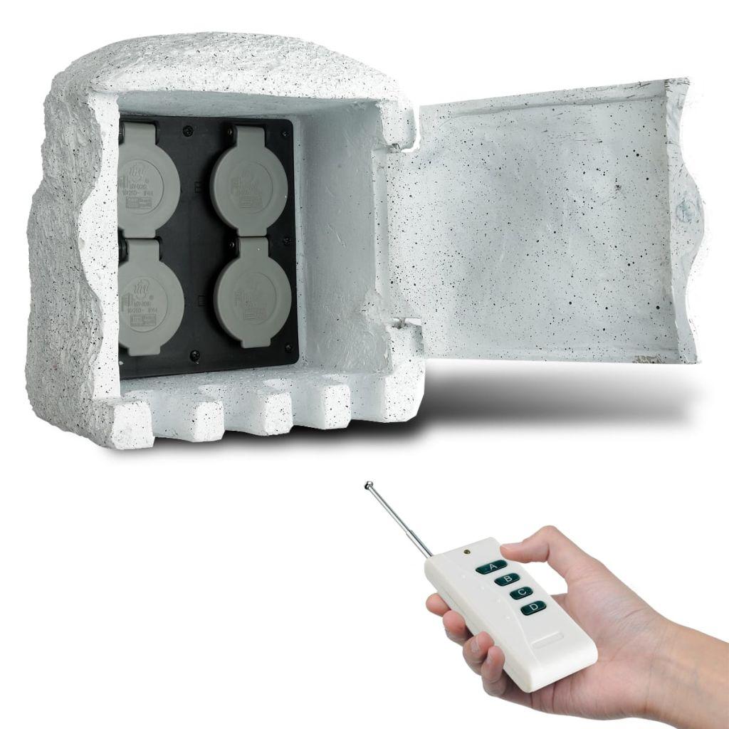 Záhradná zásuvka z umeleho kameňa s diaľkovým ovládaním