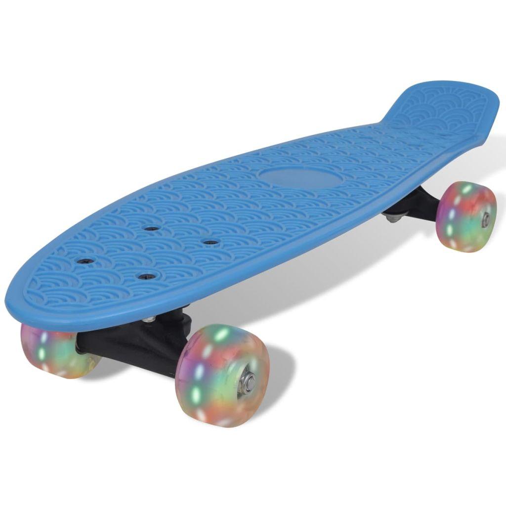 Modrý retro skateboard s LED kolieskami