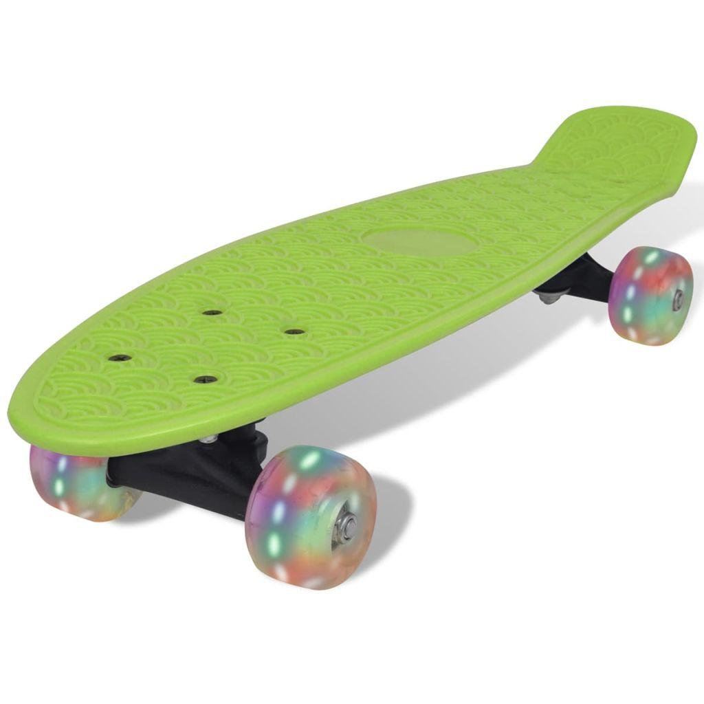 Zelený retro skateboard s LED kolieskami