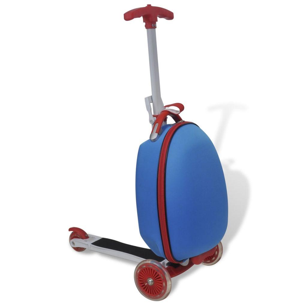 Modrá kolobežka pre deti s prednou taškou