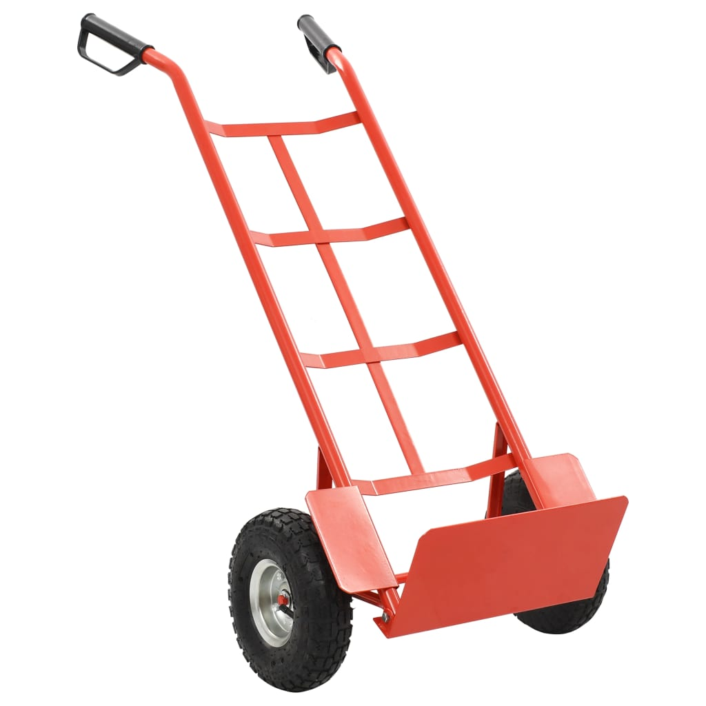 Červeno-červený kovový skladací vozík