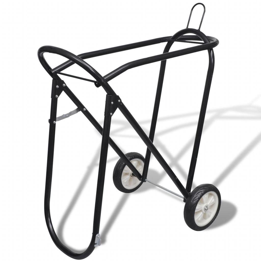 Kovový skladací držiak na sedlo s kolesami