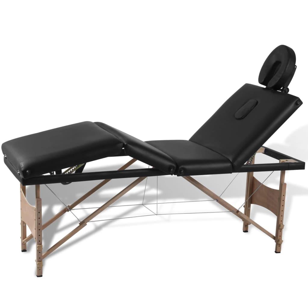 Čierny skladací masážny stôl so 4 zónami a dreveným rámom