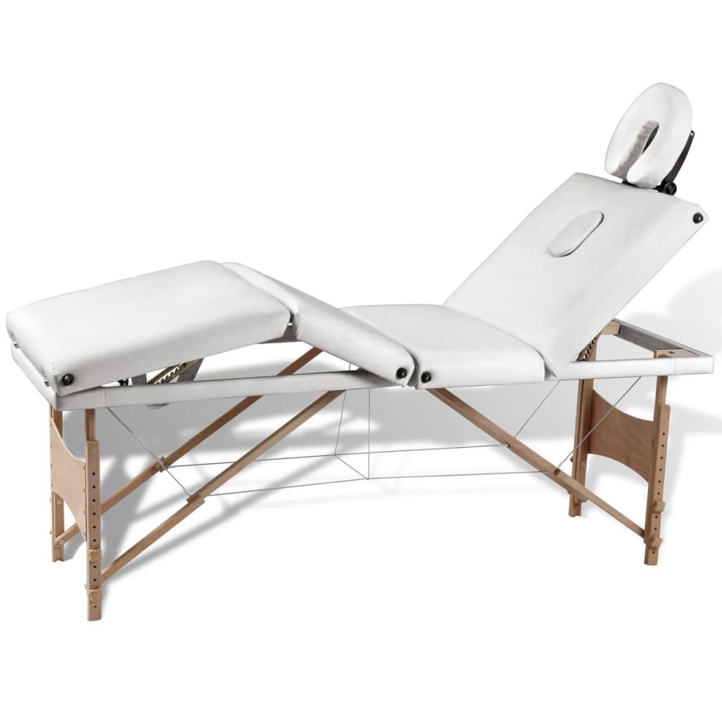 Krémovo biely skladací masážny stôl so 4 zónami a dreveným rámom