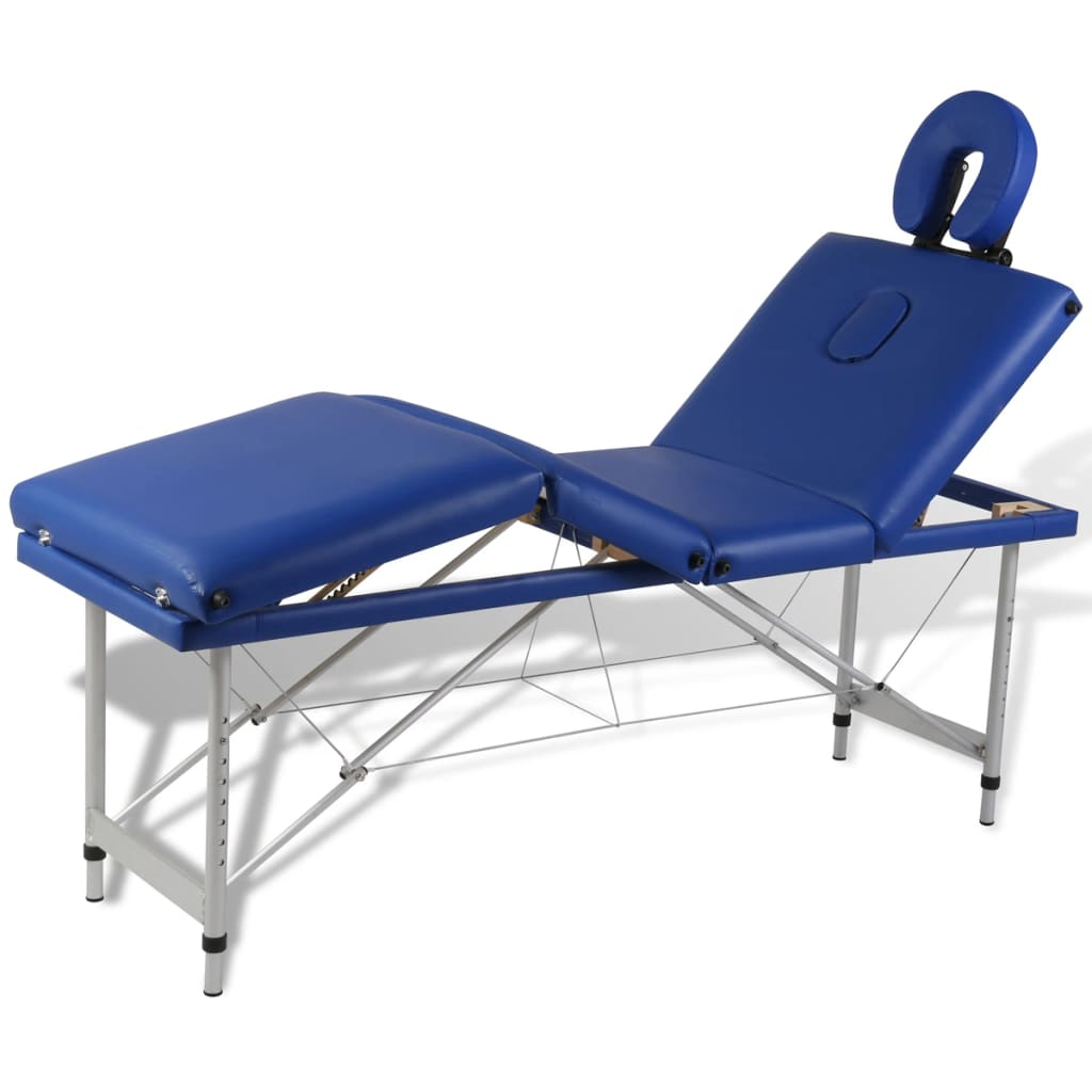 Modrý skladací masážny stôl so 4 zónami a hliníkovým rámom