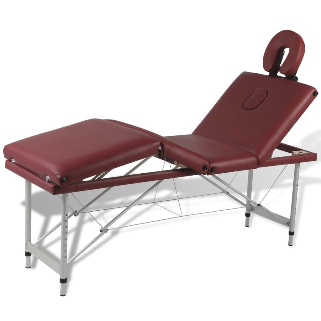 Červený skladací masážny stôl so 4 zónami a hliníkovým rámom
