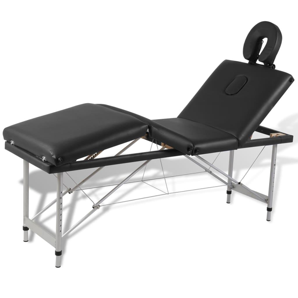 Čierny skladací masážny stôl so 4 zónami a hliníkovým rámom