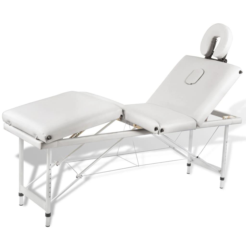 Krémovo biely skladací masážny stôl so 4 zónami a hliníkovým rámom
