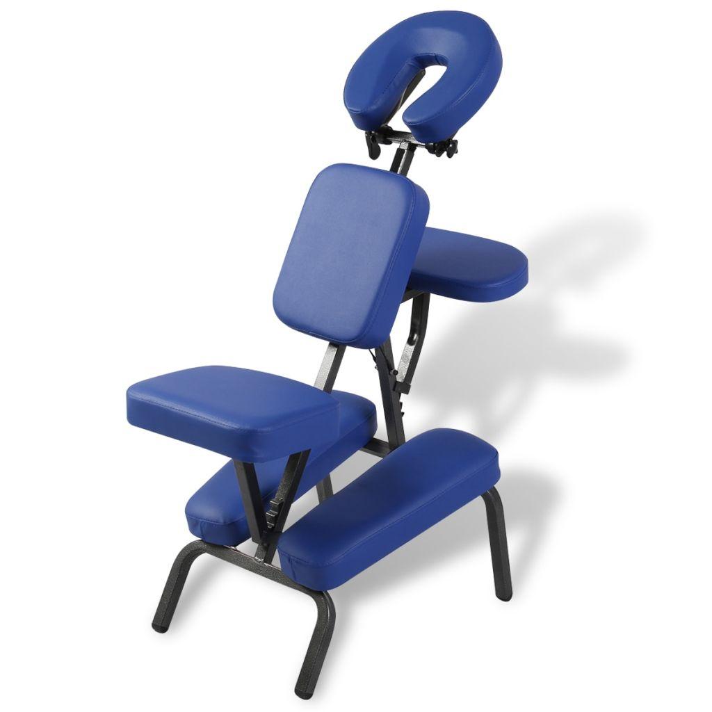Modrá skladacia a prenosná masážna stolička