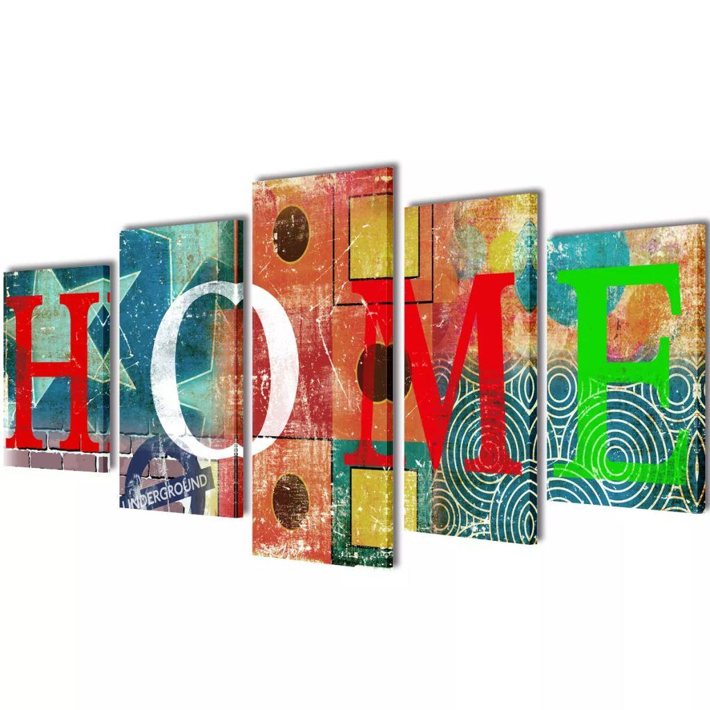 Sada obrazov na stenu, farebný motív s nápisom Home 200 x 100 cm