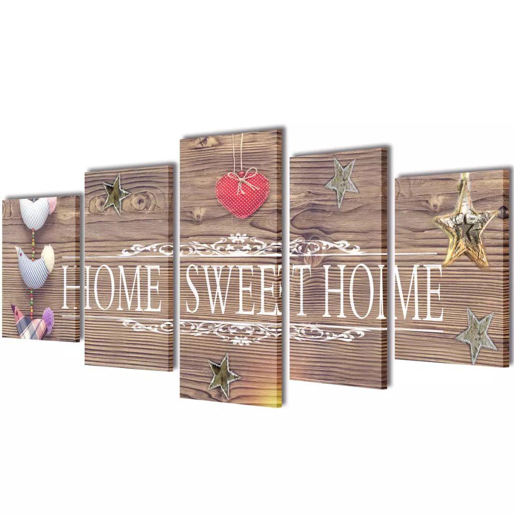 Sada obrazov na stenu s nápisom Home Sweet Home 100 x 50 cm