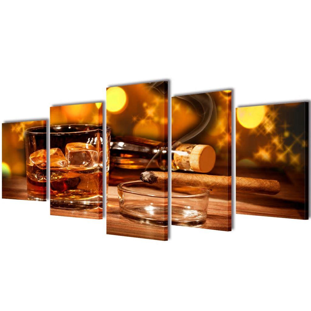 Sada obrazov na stenu, motív Whiskey a cigara 100 x 50 cm