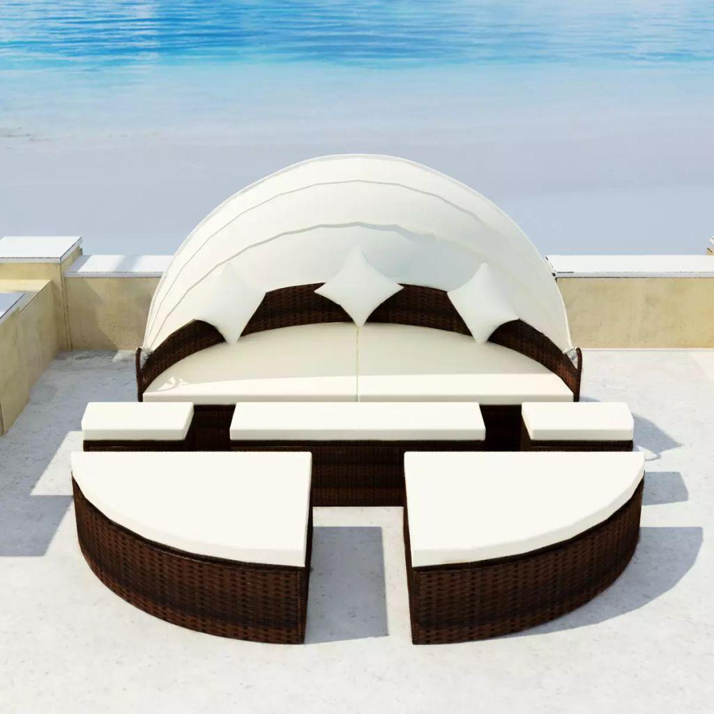 vidaXL Opaľovacia posteľ 2-v-1 s baldachýnom, 15-dielna súprava, hnedá, polyratan