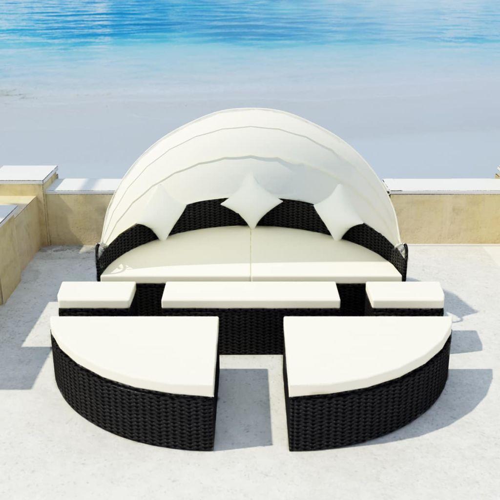 vidaXL Opaľovacia posteľ 2-v-1 s baldachýnom, 15-dielna súprava, čierna, polyratan